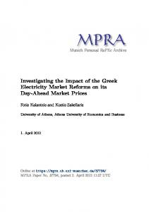 Investigating the Impact of the Greek Electricity Market Reforms on ...