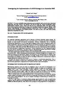 Investigating the Implementation of a MIS Strategy in an ... - CiteSeerX