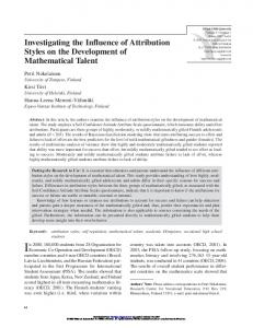 Investigating the Influence of Attribution Styles on the Development of ...