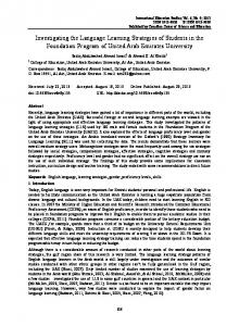 Investigating the Language Learning Strategies of Students in ... - Eric