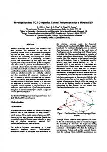 Investigation into TCP Congestion Control Performance for a Wireless ...