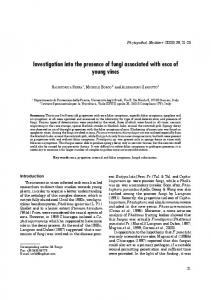 Investigation into the Presence of Fungi Associated with Esca of ...