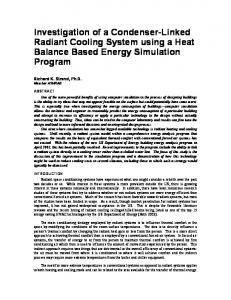 Investigation of a Condenser-Linked Radiant Cooling System using a