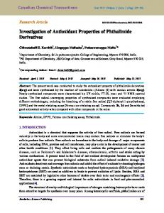 Investigation of Antioxidant Properties of Phthalimide Derivatives