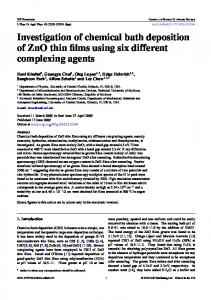 Investigation of chemical bath deposition of ZnO thin films ... - Physics