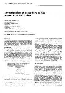 Investigation of disorders of the anorectum and colon