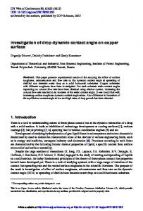 Investigation of drop dynamic contact angle on copper surface