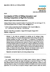 Investigation of Effect of Milling Atmosphere and ... - Semantic Scholar