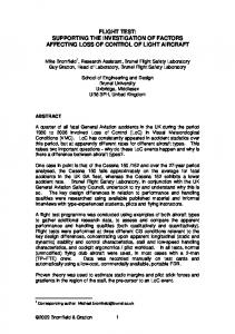 Investigation of Factors affecting Loss of Control of Genera Aviation ...