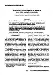 Investigation of Factors Influencing the Intention to ...