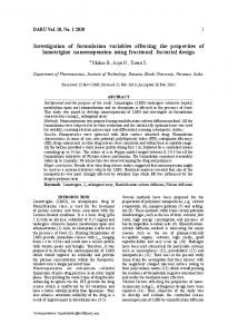 Investigation of formulation variables affecting the ... - ScienceOpen