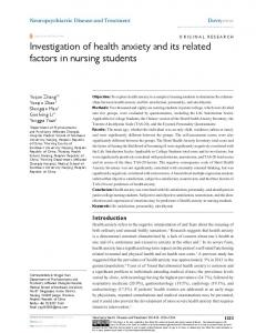 investigation of health anxiety and its related ... - Semantic Scholar