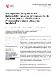 Investigation of Heavy Metals and Radionuclide's Impact on ...