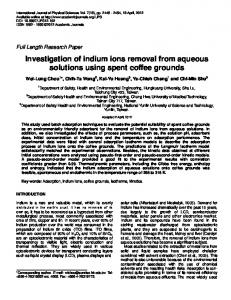 Investigation of indium ions removal from aqueous solutions using ...