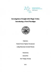 Investigation of Insight with Magic Tricks