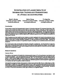 investigation of lagged impacts of information ... - Temple University