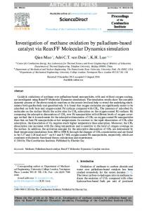 Investigation of methane oxidation by palladium