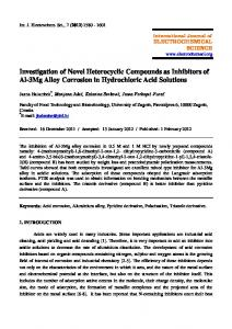 Investigation of Novel Heterocyclic Compounds as Inhibitors of Al-3Mg