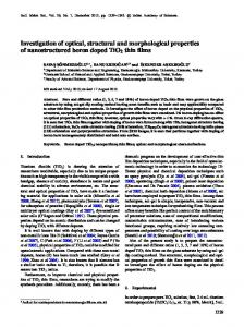 Investigation of optical, structural and morphological properties of