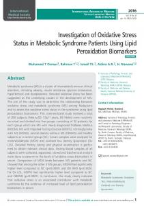 Investigation of Oxidative Stress Status in Metabolic Syndrome
