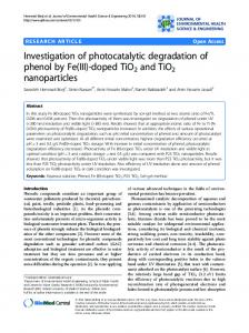 Investigation of photocatalytic degradation of phenol by Fe (III)-doped