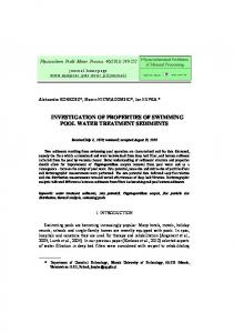 Investigation of properties of swimming pool water treatment sediments
