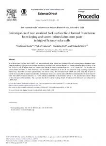 Investigation of Rear Localized Back Surface Field Formed from Boron ...