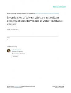 Investigation of solvent effect on antioxidant property