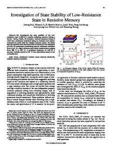 Investigation of State Stability of Low-Resistance State ... - IEEE Xplore