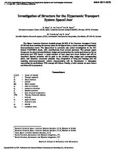Investigation of Structure for the Hypersonic Transport System ... - Core
