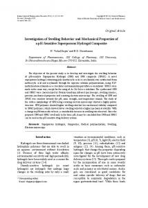 Investigation of Swelling Behavior and Mechanical ... - Semantic Scholar