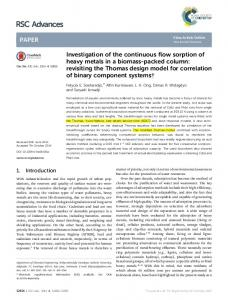 Investigation of the continuous flow sorption of heavy