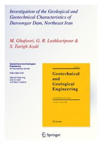 Investigation of the Geological and Geotechnical Characteristics of