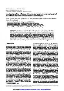 Investigation of the influence of incomplete fusion on complete fusion ...