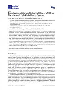 Investigation of the Machining Stability of a Milling Machine ... - MDPI