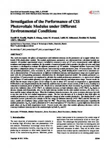 Investigation of the Performance of CIS Photovoltaic Modules under ...