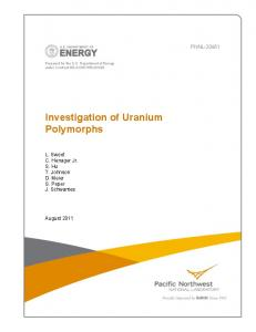 Investigation of Uranium Polymorphs - Pacific Northwest National ...