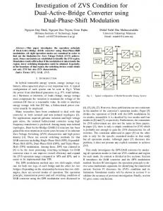 Investigation of ZVS Condition for Dual-Active-Bridge Converter using