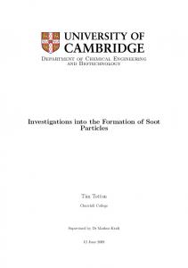 Investigations into the Formation of Soot Particles