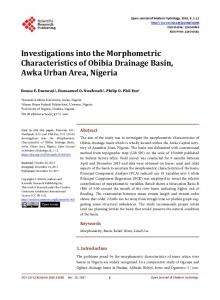 Investigations into the Morphometric Characteristics of Obibia ...