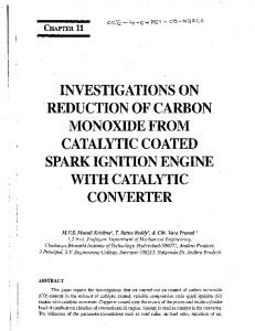 investigations on reduction of carbon monoxide from