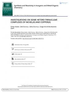 investigations on some hetero-trinuclear complexes of
