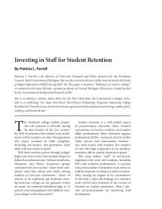 Investing in Staff for Student Retention - NEA