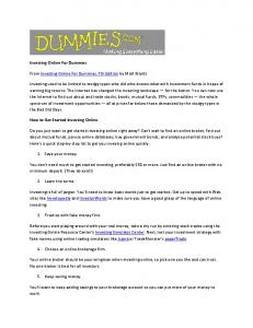 Investing Online For Dummies From Investing Online For Dummies ...