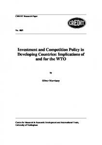 Investment and Competition Policy in Developing Countries ...