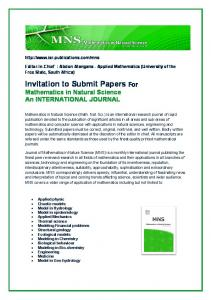 Invitation to Submit Pape tation to Submit Papers For