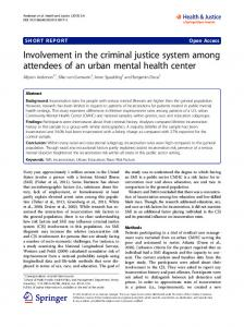 Involvement in the criminal justice system among attendees of an ...