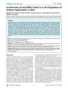 Involvement of microRNA Lethal-7a in the Regulation of ... - PLOS