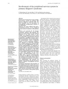 Involvement of the peripheral nervous system in primary Sjögren's ...