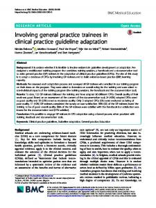 Involving general practice trainees in clinical practice guideline
